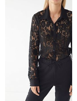 Uo Lace Button Down Shirt by Urban Outfitters