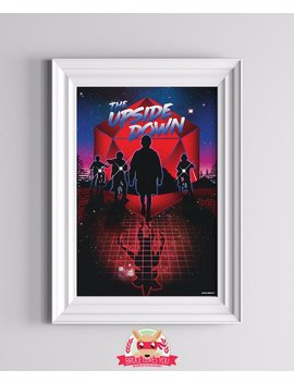 The Upside Down   Stranger Things Inspired Poster ||| Eleven Dustin Bicycles Retro Wave 80s Aesthetic Scifi Horror Art Print by Etsy