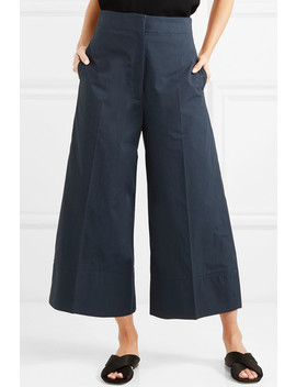 Cropped Cotton Poplin Wide Leg Pants by Lemaire