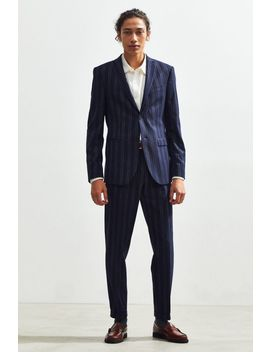 Uo Navy Blue Pinstripe Slim Fit Single Breasted Suit Blazer by Urban Outfitters