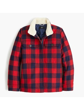 Wool Workwear Jacket With Sherpa Lining In Buffalo Check by J.Crew
