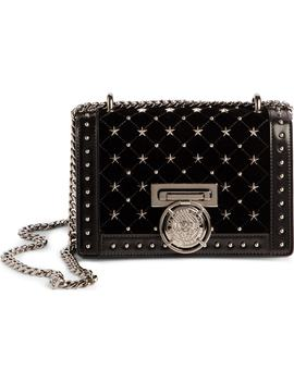 Baby Box Studded Velour Shoulder Bag by Balmain