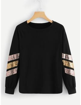 Contrast Striped Sequin Tee by Sheinside