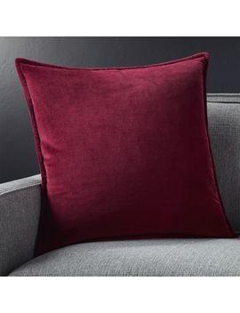 """Brenner Beet Red Velvet Pillow 20"""" by Crate&Barrel"""