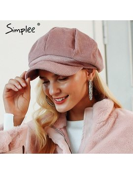 Simplee Corduroy Beret Female Flat Cap Hats For Women Fashion Cap Casual Style Beret Boina Feminina Autumn Winter Beret Hat 2018 by Simplee