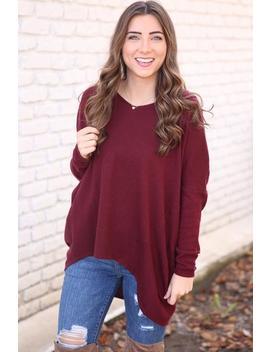 Never Forgotten Sweater  Burgundy by Hazel & Olive