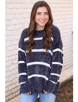Cool It Chenille Sweater  Charcoal &Amp; White by Hazel & Olive