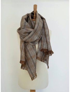 Plaid Linen Scarf   Brown Linen Shawl   Linen Men Scarf   Linen Accessories   Pure Linen Scarf   Organic Flax Scarf   Brown Woman Scarf by Etsy