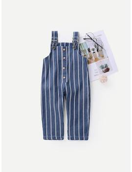 Toddler Girls Striped Overalls by Sheinside