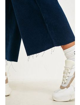 Bdg Navy Corduroy Paperbag Waist Trousers by Bdg