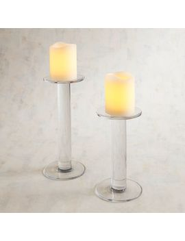 Clear Glass Pillar Candle Holders by Pier1 Imports