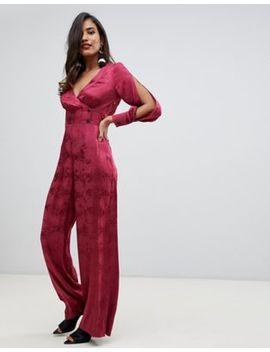 Asos Design Wrap Jumpsuit In Jacquard by Asos Design