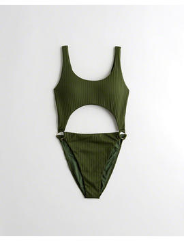 Ribbed Cutout One Piece Swimsuit by Hollister
