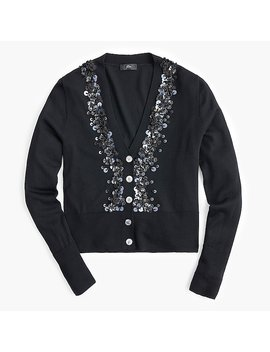 Sequin Embellished V Neck Cardigan Sweater by J.Crew