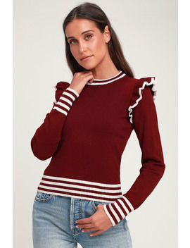 Allegiance Burgundy Striped Ruffled Sweater by The Fifth Label