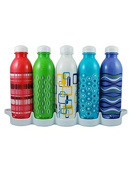 Reduce Water Week Classic Reusable Water Bottle Set With Fridge Tray Organizer – 5 Flask Pack, 16oz – Bpa Free, Leak Proof Twist Off Cap – Assorted Colors   Perfect For Sport   Simply Fill, Chill & Go by Reduce