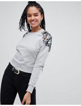 Miss Selfridge Embellished Shoulder Sweatshirt In Grey by Miss Selfridge