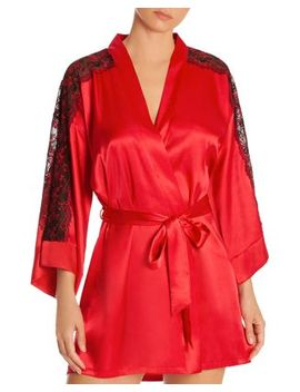 Lace Inset Satin Wrap Robe by In Bloom By Jonquil