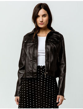 Ivy & Main Faux Leather Classic Black Womens Jacket by Ivy & Main