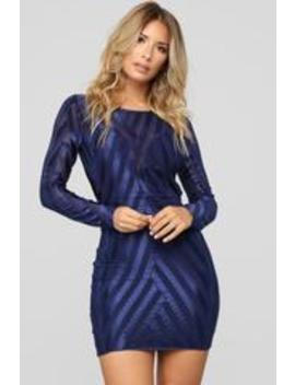 You Tell Me Metallic Dress   Navy by Fashion Nova
