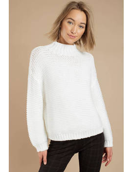 Cecilia White Chunky Knit Sweater by Tobi