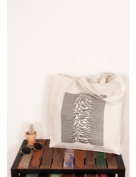 Canvas Tote Pulsar Artwork As Used By Joy Division On Unknown Pleasures Minimal Print Cotton Shopper Bag Screen Printed Eco Friendly Market by Etsy