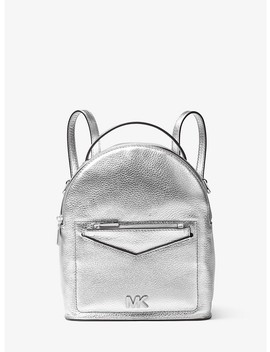 Jessa Small Metallic Pebbled Leather Convertible Backpack by Michael Michael Kors