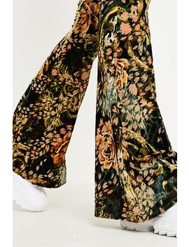 Urban Renewal Remnants Green And Pink Floral Burnout Flare Trousers by Urban Renewal