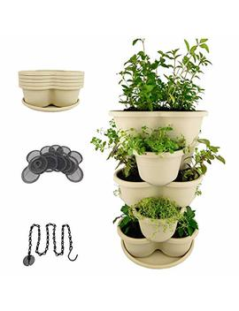Amazing Creation Stackable Planter Vertical Garden For Growing Strawberries, Herbs, Flowers, Vegetables And Succulents| Indoor/Outdoor 5 Tier Gardening Tower| Hanging Planter (Off White) by Amazing Creation