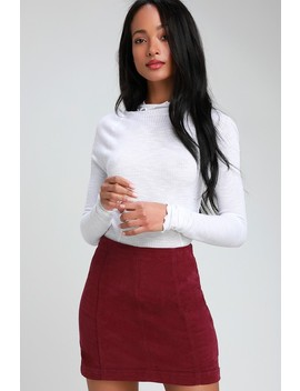 Modern Femme Wine Red Corduroy Mini Skirt by Free People
