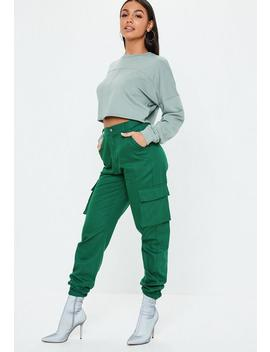 Green Plain Cargo Trousers by Missguided