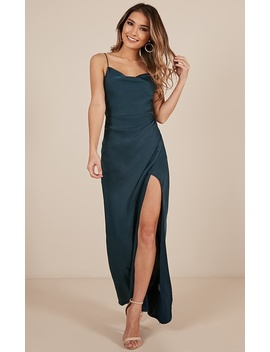 Seconds To Minutes Dress In Green Satin by Showpo Fashion