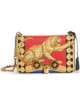 Pillow Talk Print Icon Leather Crossbody Bag by Versace