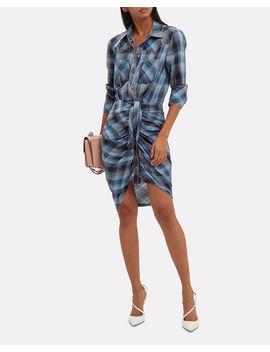 Sierra Blue Plaid Shirtdress by Veronica Beard