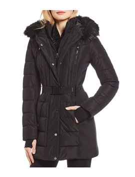 Belted Faux Fur Trimmed Hood Puffer Parka by Michael Michael Kors