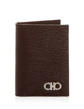 Embossed Leather Bi Fold Card Case by Salvatore Ferragamo