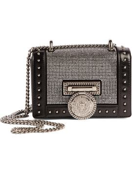 Baby Box Crystal Embellished Leather Shoulder Bag by Balmain