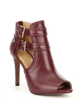 Blaze Leather Peep Toe Buckle Detail Booties by Michael Michael Kors