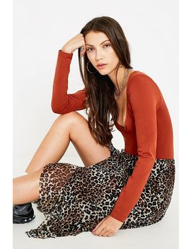 Uo Leopard Print Mesh Frill Midi Skirt by Urban Outfitters