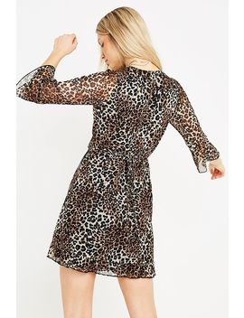 Uo Leopard Print Mesh Frill Mini Wrap Dress by Urban Outfitters