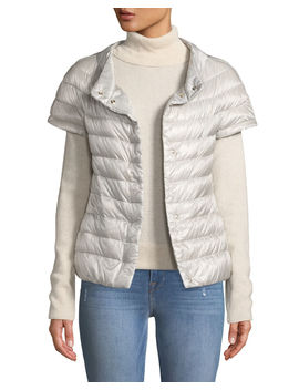 Short Sleeve Snap Front Quilted Puffer Jacket by Herno