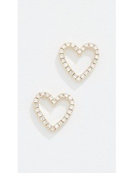 14k Diamond Open Heart Stud Earrings by Ef Collection