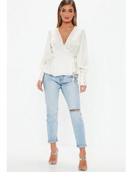Cream Wide Cuff Tie Side Blouse by Missguided