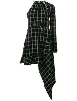 Windowpane Asymmetric Dress by Self Portrait