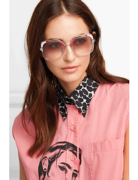 Square Frame Acetate And Silver Tone Sunglasses by Prada