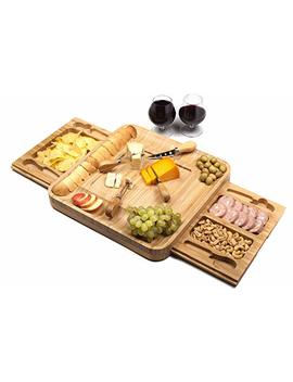 Shanik Bamboo Cheese Board Set/Stainless Steel Cutlery Set And Large Bamboo Cutlery Cheese Board   Ideal For Entertaining And Serving Cheese, Crackers And Appetizers 14.7 X 2 X 14.7 Inches by Shanik