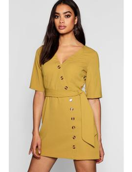Horn Button 3/4 Sleeve Shift Dress by Boohoo