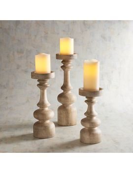 Wooden Modern Pillar Candle Holders by Pier1 Imports