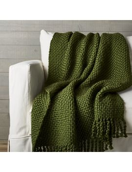 Cozy Weave Green Throw by Crate&Barrel
