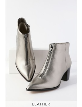 Desiray Gunmetal Leather Front Zip Pointed Toe Booties by Sole Society